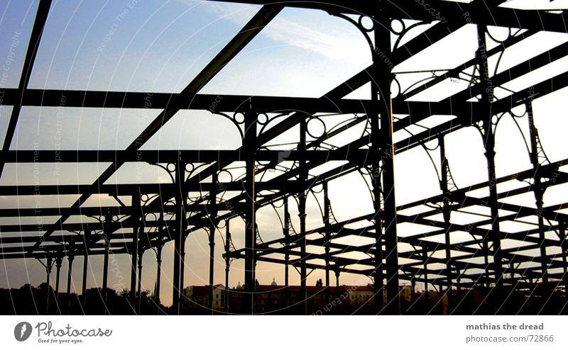 decay Friedrichshain Park Crossed Broken Steel storkower street Sun good weather Scaffold Steel carrier Old factory Sky geometrical shapes Open