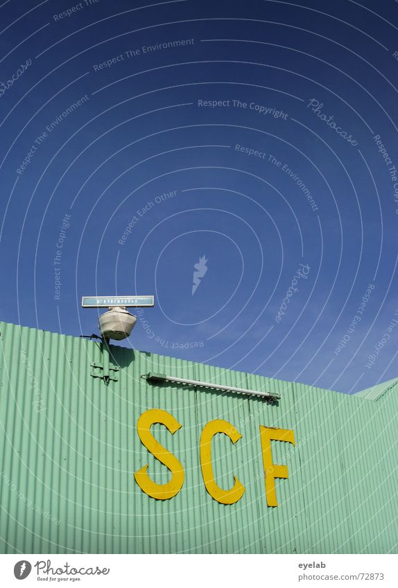 SCF is watching you! V1.3 Turquoise Yellow Corrugated sheet iron Radar station Neon light Sky Warehouse Building Industrial Photography Astronautics Airplane
