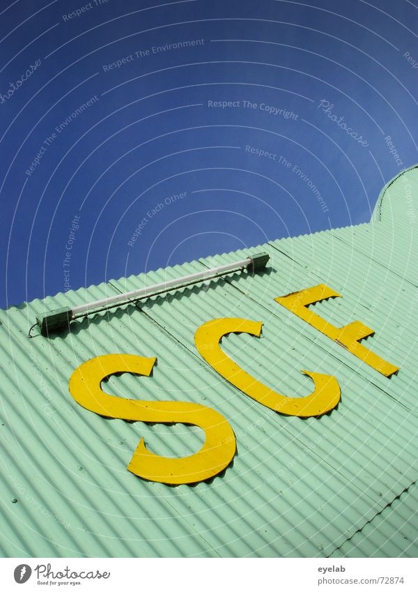 SCF is watching you! V1.4 Turquoise Yellow Corrugated sheet iron Radar station Neon light Sky Warehouse Building Industrial Photography Astronautics Airplane