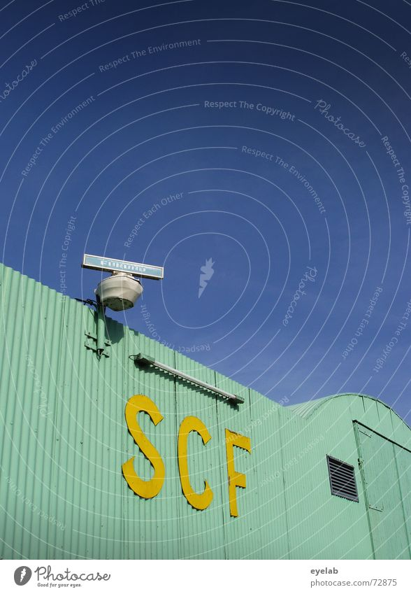 SCF is watching you! V1.5 Turquoise Yellow Corrugated sheet iron Radar station Neon light Sky Warehouse Building Industrial Photography Astronautics Airplane