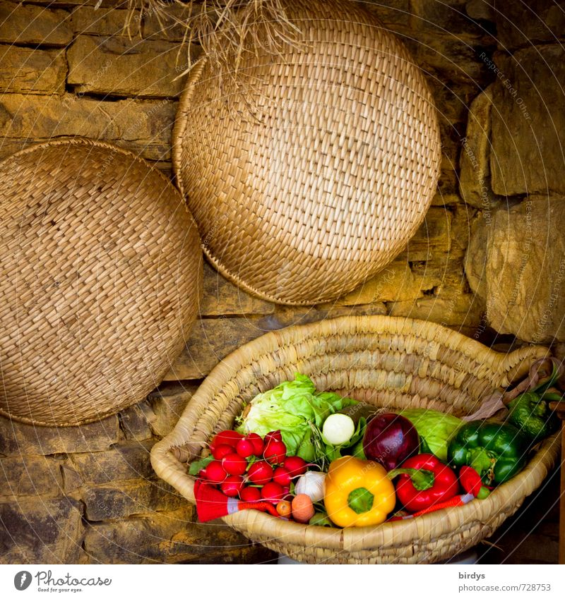 Summer Healthy Eating Calm Style Stone Idyll Esthetic Nutrition To enjoy Joie de vivre (Vitality) Kitchen Vegetable Organic produce Fragrance Positive