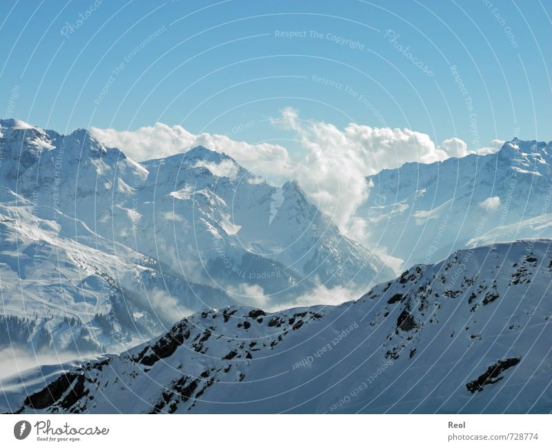 In the distance Ski run Environment Nature Landscape Elements Water Sky Cloudless sky Clouds Sun Winter Weather Beautiful weather Ice Frost Alps Mountain Peak