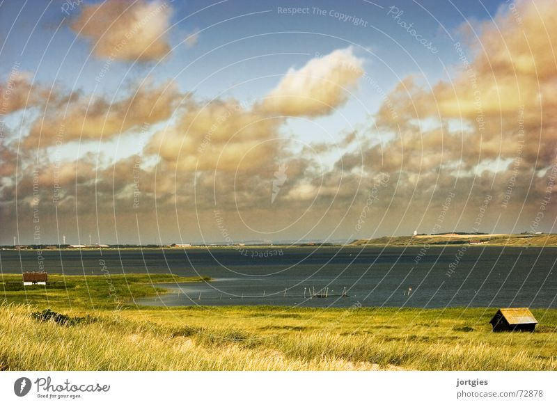 Water Sun Ocean Beach Clouds Loneliness Coast Hut Badlands Denmark Fishery Fisherman Scandinavia Dike