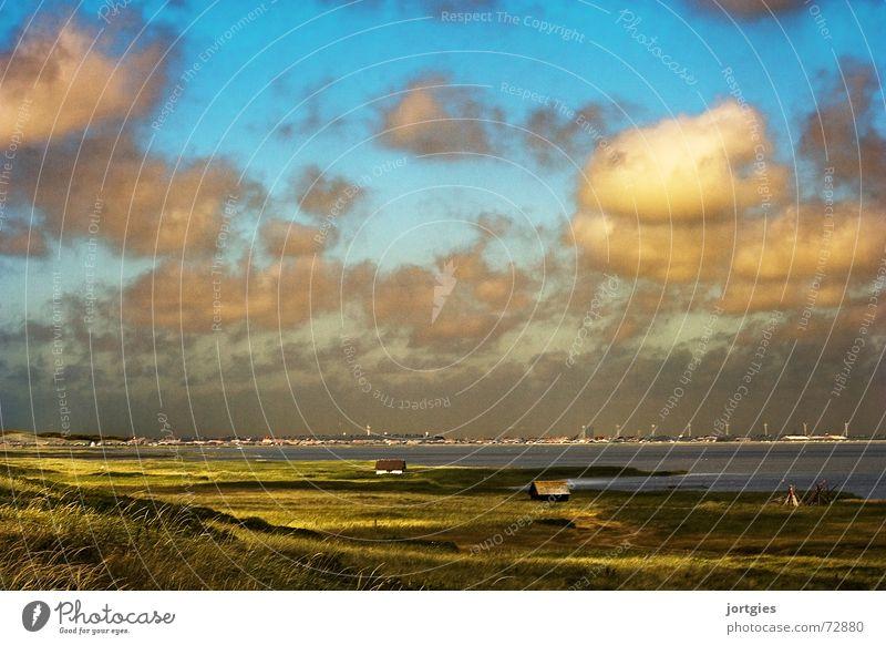 Right behind dyke #2. Scandinavia Denmark Badlands Loneliness Ocean Water Coast Evening Sun Clouds Dike Hut Fisherman Fishery Beach