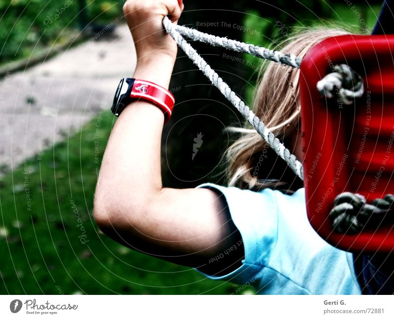 Human being Child Hand Girl Red Joy Meadow Playing Hair and hairstyles Arm Blonde Leisure and hobbies Rope Clock T-shirt Lawn