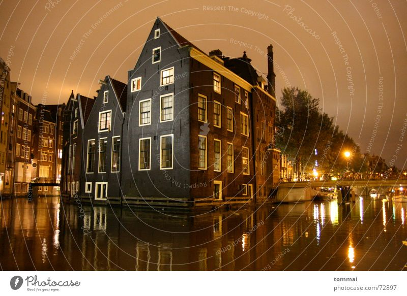 (h)amstardam(m) Amsterdam Mirror Reflection House (Residential Structure) Night Exposure Pointed roof Roof Light River Bridge Deluge Water