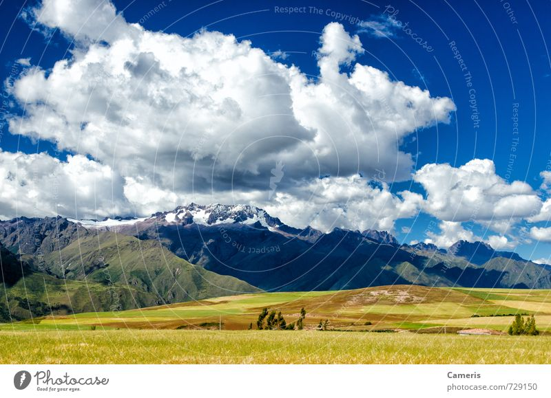 The Andes in Peru Environment Nature Landscape Earth Air Sky Clouds Sun Sunlight Summer Weather Beautiful weather Grass Bushes Moss Field Hill Rock Mountain