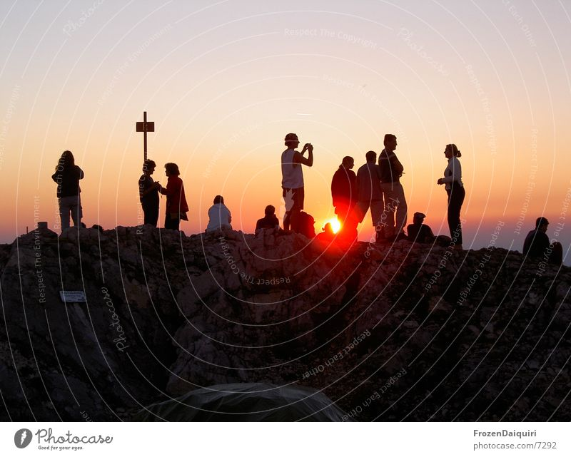 Traunstein Mountaineering Hiking Peak cross Sunset Red Completed Infinity Sky Clouds Panorama (View) Evening Human being Orange Success sun Free Freedom Dusk