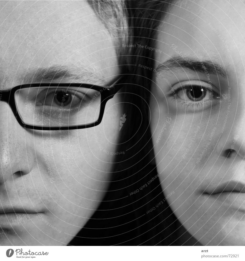 Woman Man Youth (Young adults) Face Love Eyes Hair and hairstyles Couple Mouth 2 Adults Nose Perspective Eyeglasses Lips Partner
