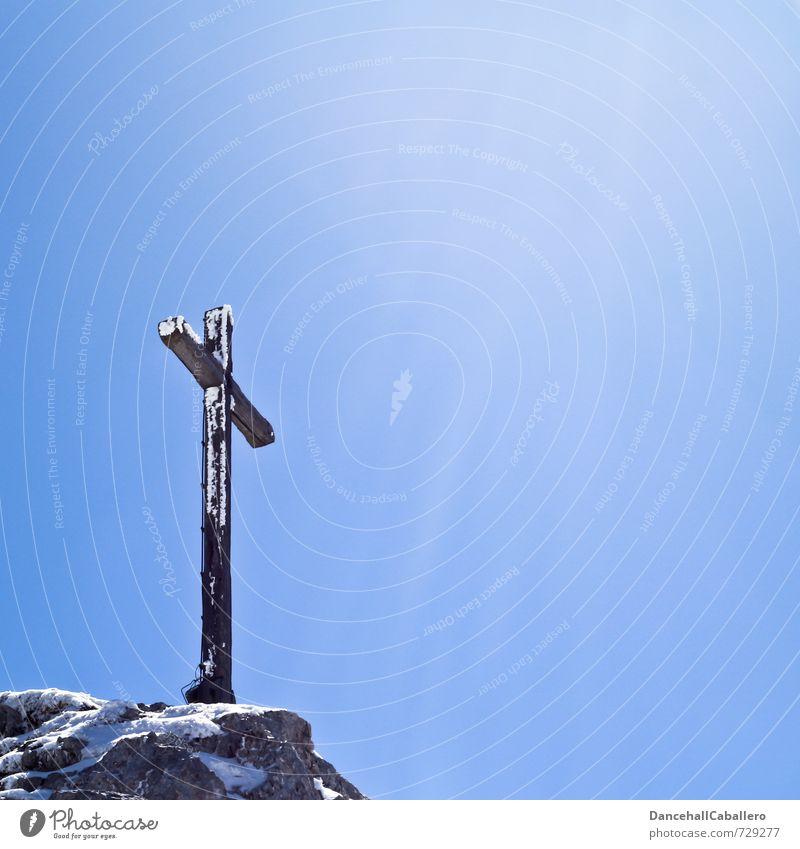 Summit Crucifix Elegant Vacation & Travel Tourism Trip Adventure Freedom Winter vacation Mountain Hiking Climbing Sky Cloudless sky Sun Sunlight