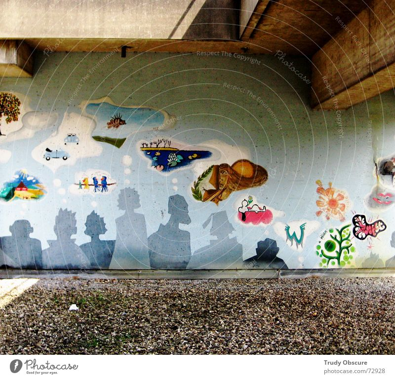 storytelling Wall (building) Wall (barrier) Concrete Material Painting and drawing (object) Pattern Planning Work of art Art Multicoloured Thought Understanding
