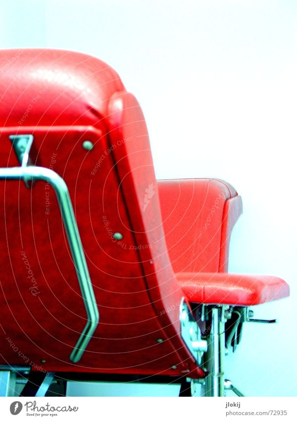 Red Metal Design Chair Steel Leather Seventies Section of image Partially visible Object photography Rivet Chair back Designer furniture Leather chair Bright background Steel tube chair