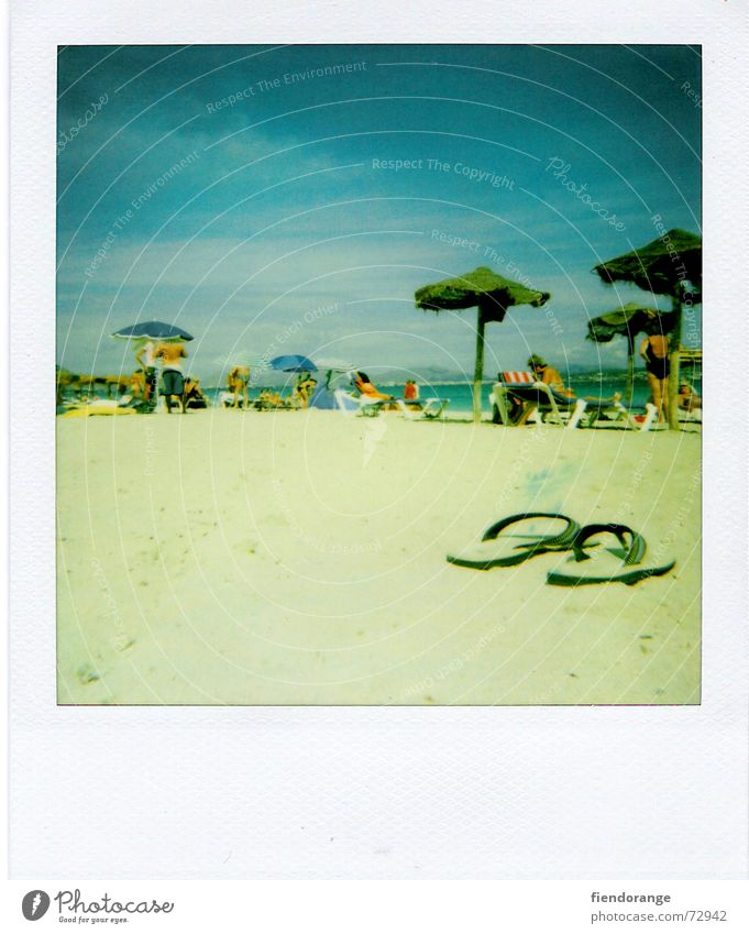 Ocean Beach Clouds Relaxation Freedom Sand Waves Walking Skin Sunshade Barefoot Spain Salt Majorca White crest Polaroid