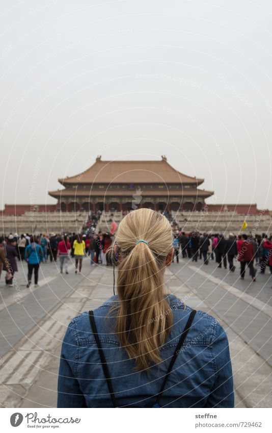 Human being Youth (Young adults) 18 - 30 years Adults Feminine Hair and hairstyles Blonde China Beijing Ponytail Forbidden city