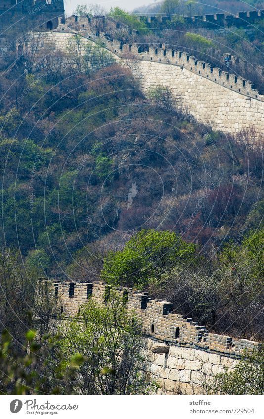 meandering dragon Beijing China Mutianyu Great wall big wall Tourist Attraction Landmark mountains Spring vacation Protection