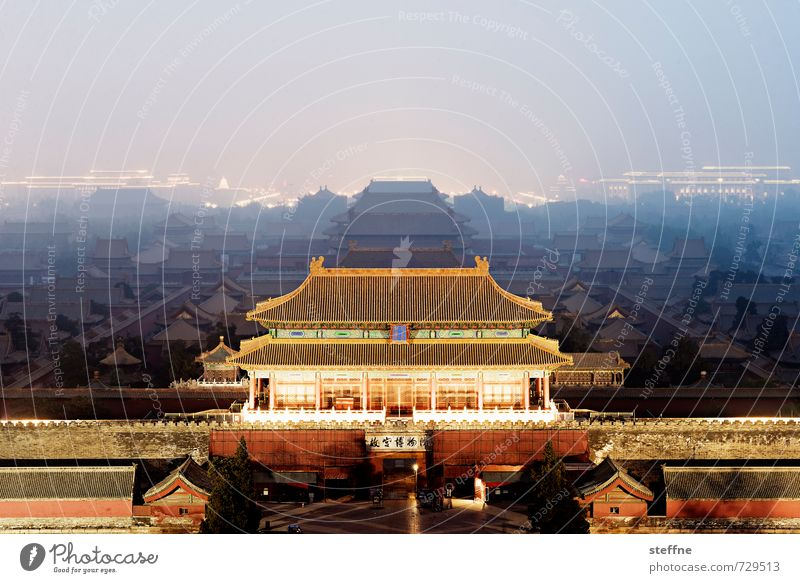 forbidden city, darkened Beijing China Old town Tourist Attraction Landmark Exceptional Forbidden city Shadow Night shot Colour photo Exterior shot