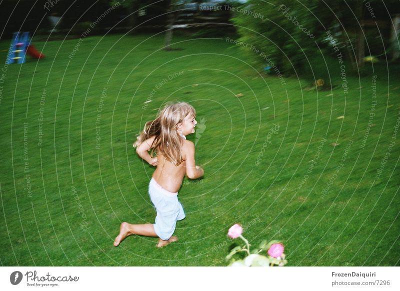 Human being Green Meadow Playing Garden Walking Running Speed Lawn