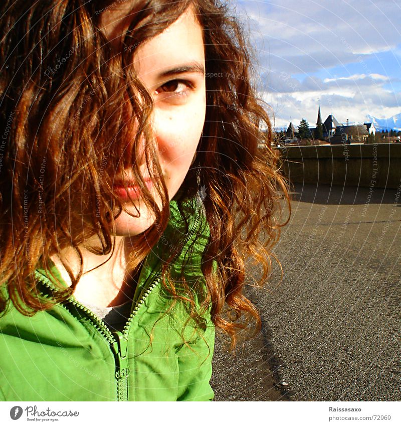 City Autumn Hair and hairstyles Wind Asphalt Square Jacket Brunette Blue sky Autumnal Canton Bern