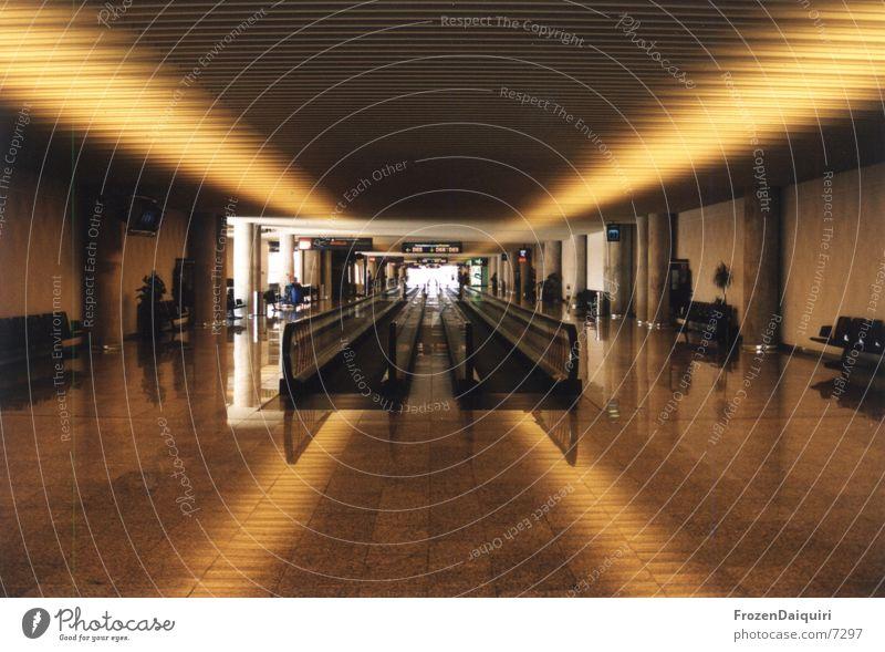Yellow Orange Wait Architecture Airport Warehouse Majorca Escalator Building line Light and shadow