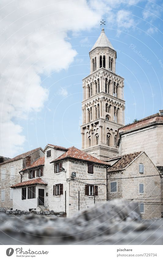 Tower in Split Town Downtown Old town Skyline Deserted House (Residential Structure) Church Manmade structures Architecture Tourist Attraction Croatia