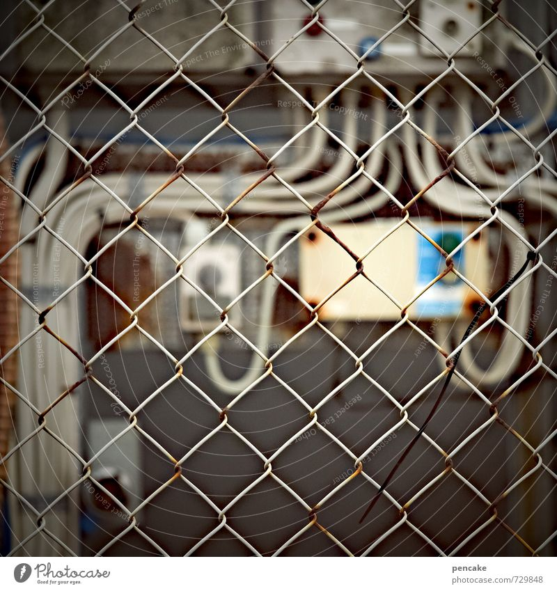 Rømø | safer Hardware Cable Technology Energy industry Deserted Industrial plant Factory Wall (barrier) Wall (building) Concrete Rust Plastic Sign Threat Dark