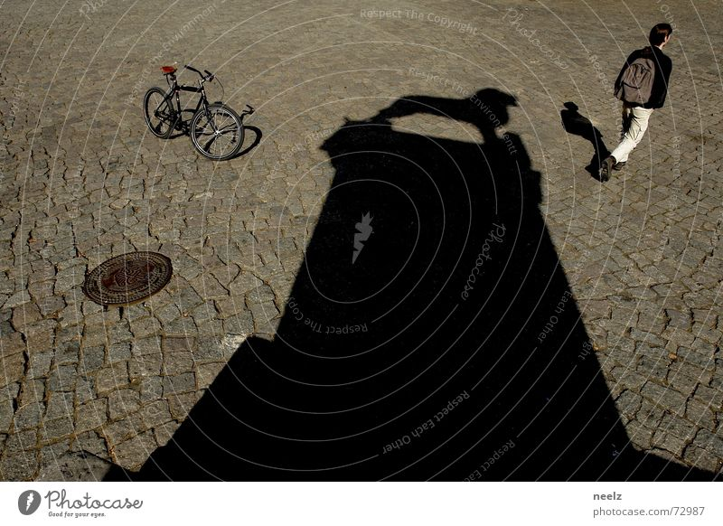 Well roared...03 Bicycle Gully Lion Braunschweig Man Shadow Cobblestones Structures and shapes Beautiful weather Human being