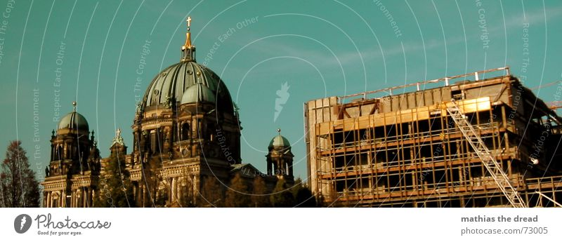 generation conflict Berlin Cathedral Palace of the Republic Dismantling Destruction Silicate mineral Glittering Domed roof Steel Construction Religion and faith