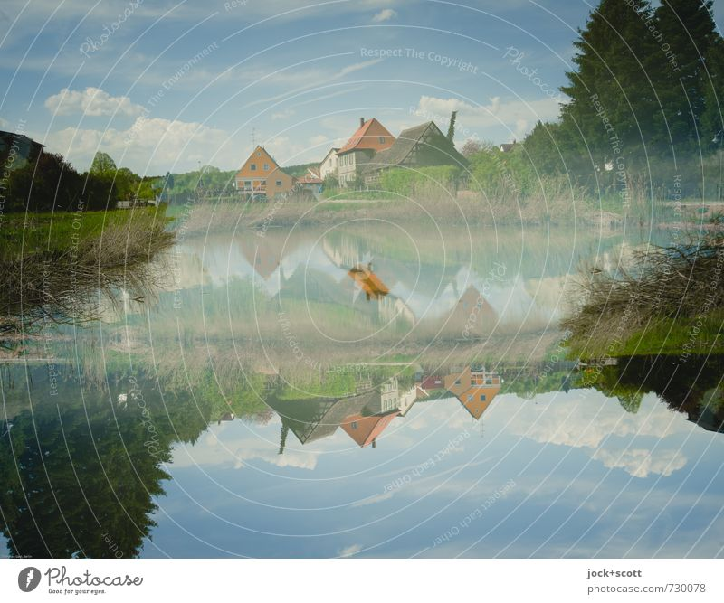 Home doubled Manmade landscape Nature Sky Clouds Spring Beautiful weather Tree Pond Franconia Village Fantastic Above Idyll Puzzle Irritation Change Illusion