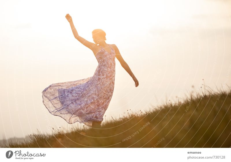 Human being Woman Sky Nature Youth (Young adults) Summer Sun Relaxation Young woman Landscape Joy Adults Meadow Feminine Grass Style