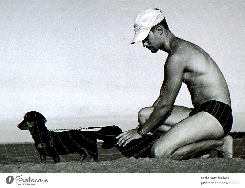 My three dogs on the beach Dachshund Beach Swimming trunks Vacation & Travel man swimwear has Sand Kneel Sit