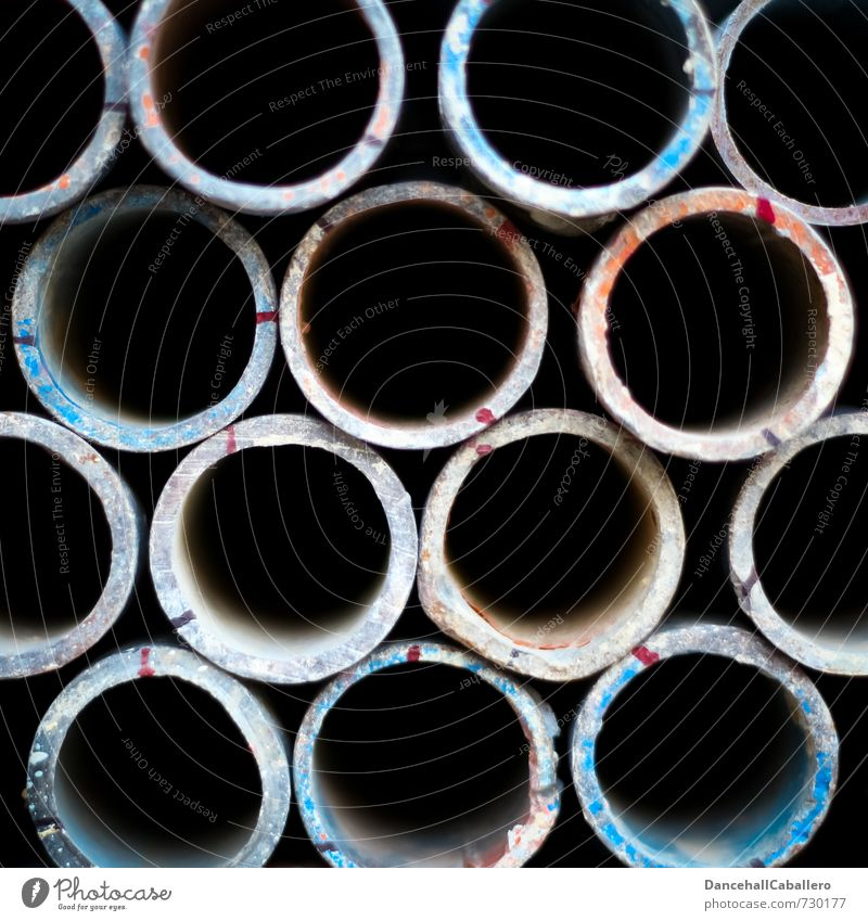 Tubes in² Technology Industry Metal Circle Pipe Iron-pipe Round Black Arrangement Storage Consecutively Side by side Construction site Craft (trade) Design