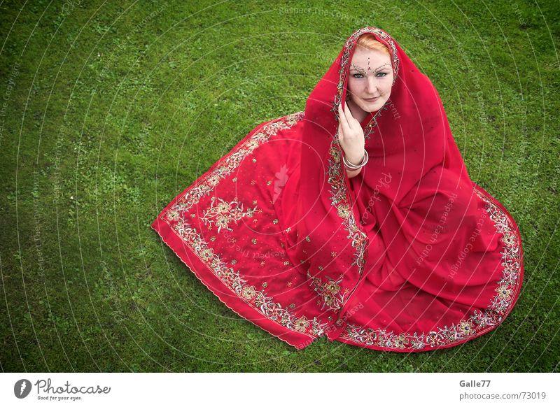 Red Sari India garment wraparound garment Rag jewellery border paluv shoulderpiece Hindi