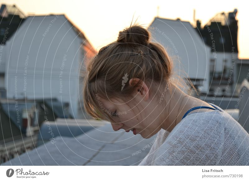 on the roofs' hamburgs Feminine 1 Human being 18 - 30 years Youth (Young adults) Adults Schanzen quarter Hamburg Roof Serene Colour photo Exterior shot Twilight