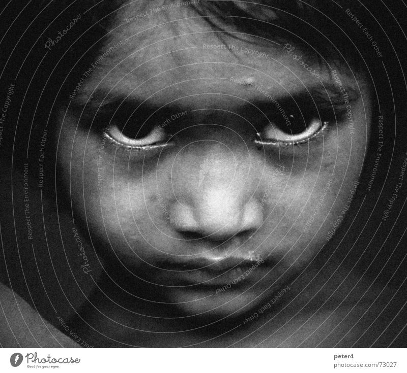 foreign Grief Refugee Foreign Homeless Child Eyes Sadness Poverty Black & white photo
