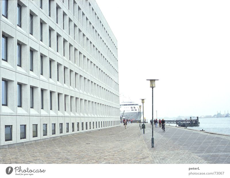 Water City Window Gray Watercraft Concrete Facade Perspective Modern Places River Harbour Grid Ferry Mole Copenhagen