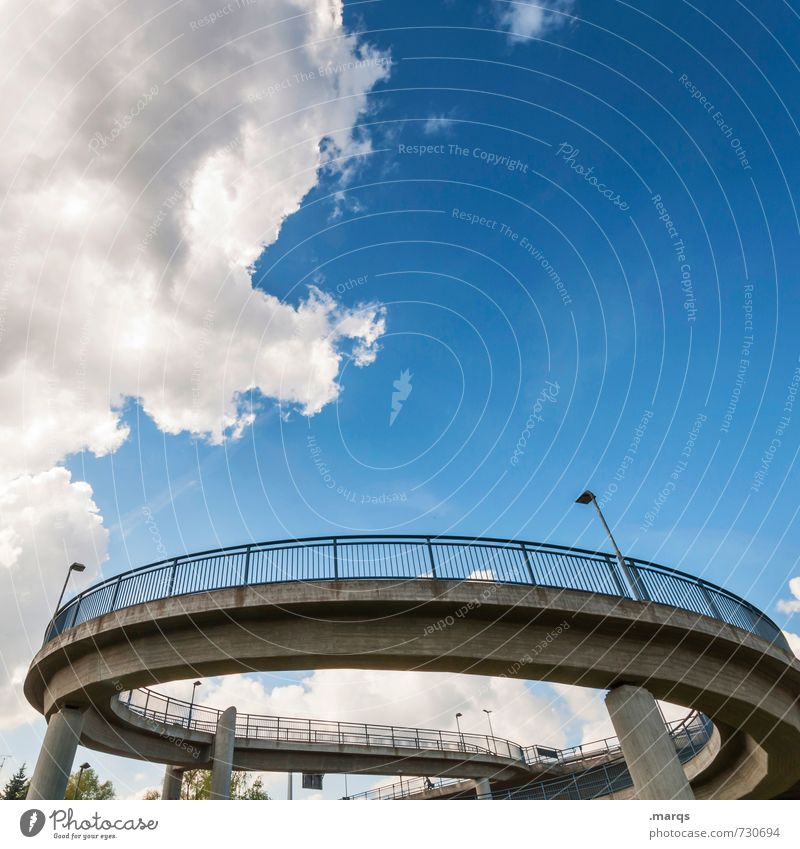 roundabout Style Design Sky Clouds Summer Beautiful weather Bridge Manmade structures Architecture Traffic infrastructure Lanes & trails Modern Round Town