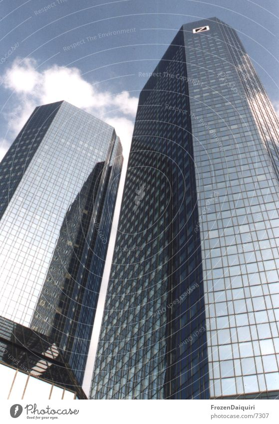Twintowers High-rise Frankfurt Building line Office building Architecture German Bank twin towers Sky Skyline