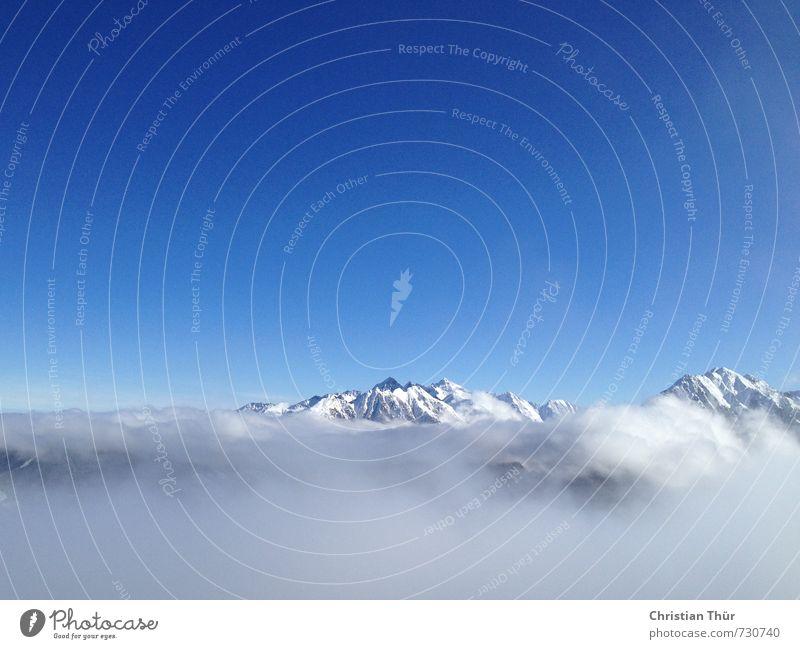 ALPENGLÜHEN Environment Nature Landscape Sky Cloudless sky Winter Beautiful weather Fog Ice Frost Snow Alps Mountain Snowcapped peak Sports Esthetic Threat