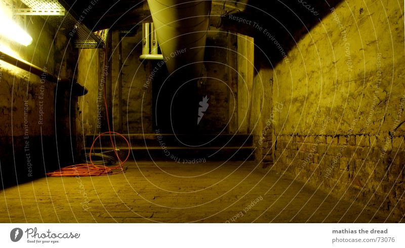 follow the pipe Cellar Wall (building) Plaster Lamp Dark Narrow Empty Loneliness Floor covering heating pipe Cable Stairs Shadow Pipe Cellar stairs Corridor