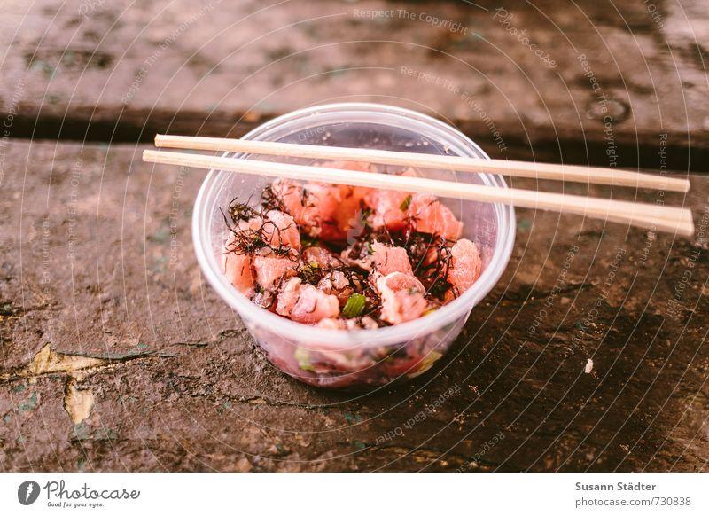 ahi poke Fish Seafood Nutrition Lunch Vegetarian diet Slow food Sushi Asian Food Bowl Cutlery Fresh Healthy Fish dish Chopstick Tuna fish Tuna salad