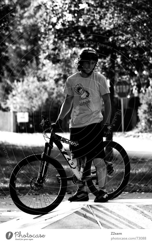 stop biking Stand Style Stop Park Helmet Easygoing Bicycle Wait Laughter Signs and labeling Sun Black & white photo Black/White Funsport Cool (slang)