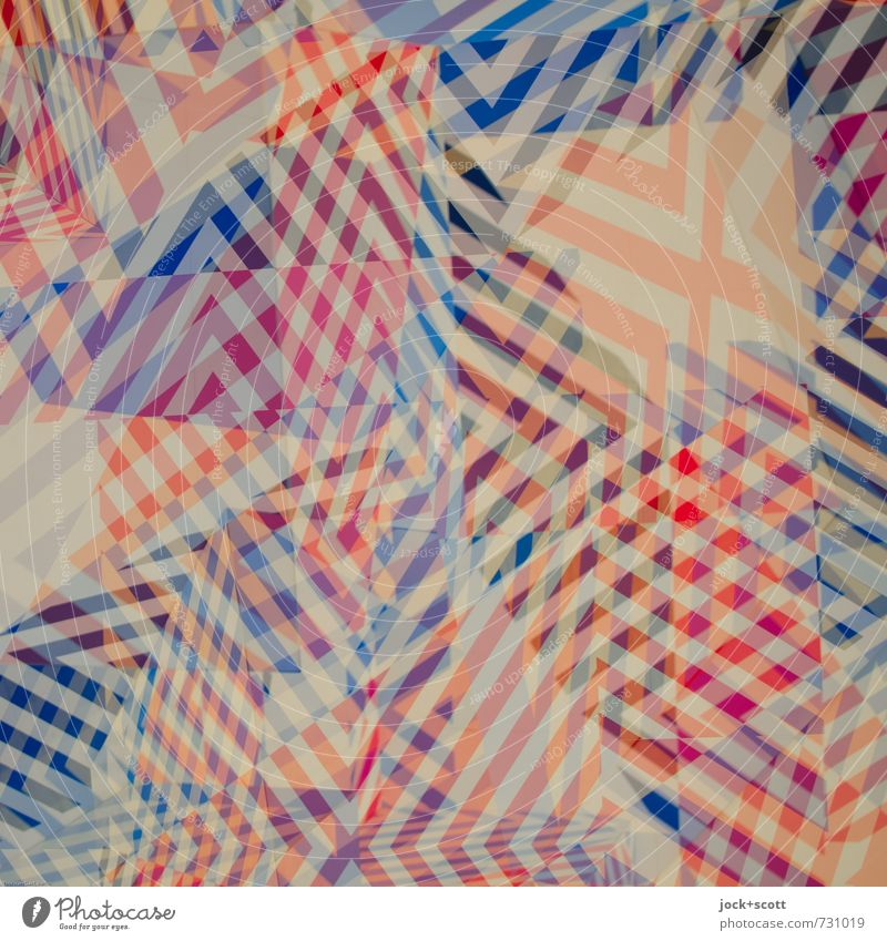 hullabaloo Illustration Stripe Checkered Sharp-edged Modern Blue Red Variable Chaos Complex Concentrate Network Irritation Double exposure Mixture Asymmetry