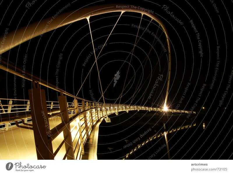 White Black Dark Line Lighting Metal Gold Industry Bridge River Mysterious Steel Handrail Noble Appearance Rainbow