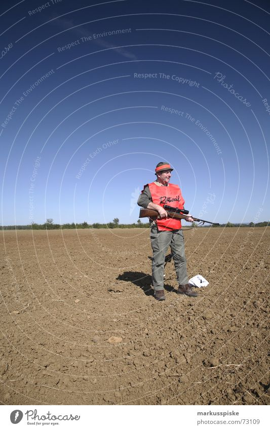 the hunter Hunter Rifle Weapon Field Hunting Archer Sky Beautiful weather Signs and labeling