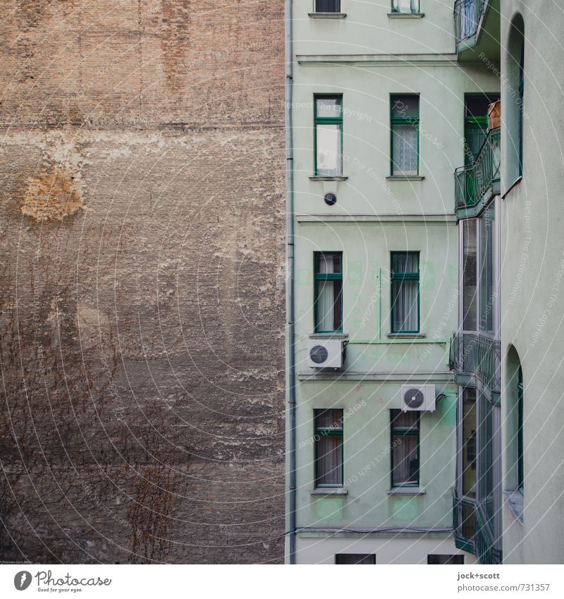 perimeter fire Budapest Town house (City: Block of flats) Facade Window Fire wall Backyard Air conditioning Rain gutter Authentic Dirty Retro Gloomy Green