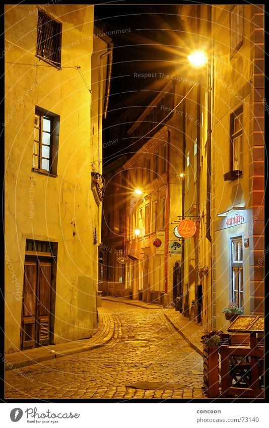Riga Cobbled Streets I Alley Narrow House (Residential Structure) Dark Cobblestones Bar Latvia Eastern Europe Old town Medieval times Looking