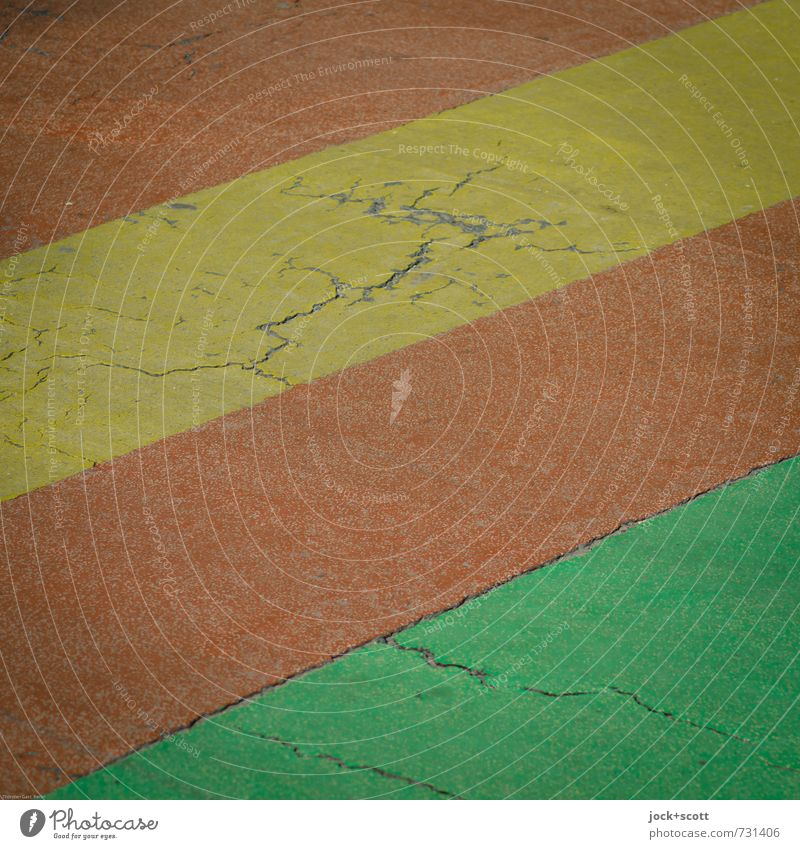 streaks on the street Traffic infrastructure Street Lanes & trails Lane markings Stripe Authentic Simple Yellow green Red Arrangement Quality Safety Style