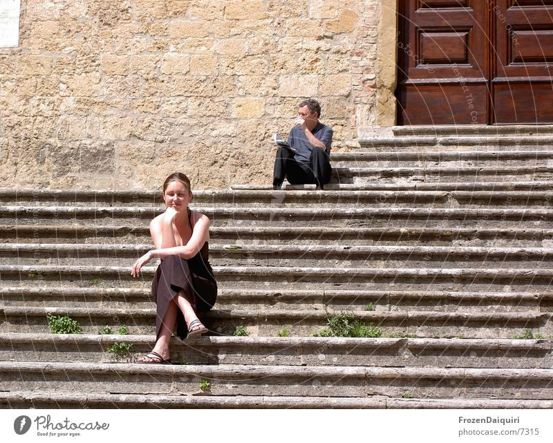 Sun-drenching seats Woman Tuscany Italy San Gimignano Vacation & Travel Leisure and hobbies Afternoon Sunbathing To enjoy Contentment Slowly Europe Sit Stairs