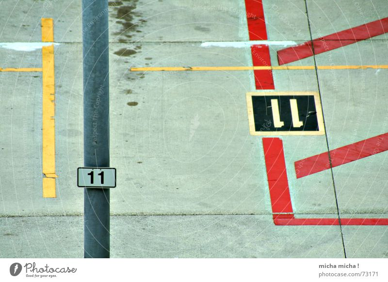 Red Yellow Line Concrete Airport Parking Graphic Oil slick