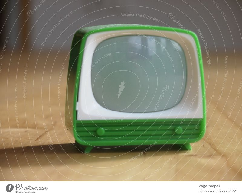 Green Small Design Empty Retro TV set Film industry Television Simple Toys Media Plastic Screen Video Entertainment Sixties